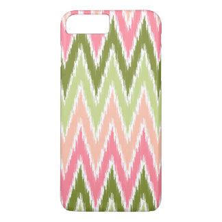 Rosa grüner Ikat Zickzack Zickzack Stripes Muster iPhone 8 Plus/7 Plus Hülle