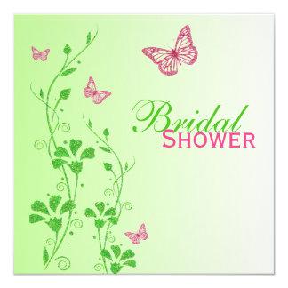 Rosa grünes Blumenschmetterlings-Brautparty laden Quadratische 13,3 Cm Einladungskarte
