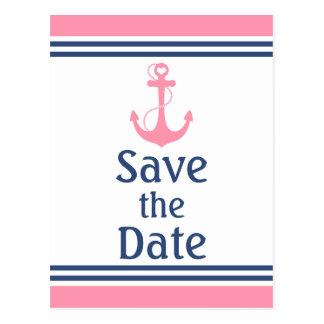 Rosa Herz-Anker nautisch Save the Date Postkarte