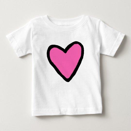 Rosa Herz-Baby-Geldstrafe-Jersey-T - Shirt