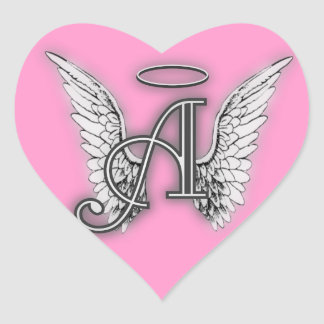 Rosa Herz-Engel Wings Monogramm Herz-Aufkleber