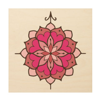 Rosa Herz-Mandala Holzleinwand