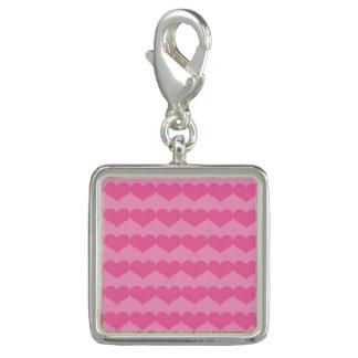 Rosa Herz-Muster auf hellerem rosa Charme-Armband Foto Anhänger