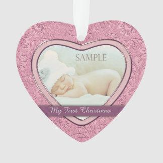 Rosa Herz-Strudel-Baby-erstes Weihnachten Ornament