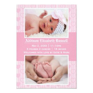 Rosa Herzen 2 Fotos - Geburts-Mitteilung 12,7 X 17,8 Cm Einladungskarte