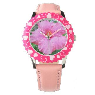 Rosa Hibiskus-Blumen-Regen besprüht, Armbanduhr