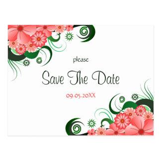 Rosa Hibiskus-Gewohnheits-Save the Date mit Postkarten