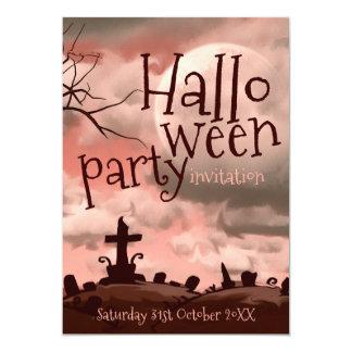 Rosa Himmel-Halloween-Friedhofs-Einladung 12,7 X 17,8 Cm Einladungskarte