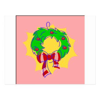 Rosa Hintergrund des Kranzes Postkarte