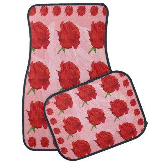 Rosa Hintergrund mit Rosen-Set von 4 Auto-Matten Automatte