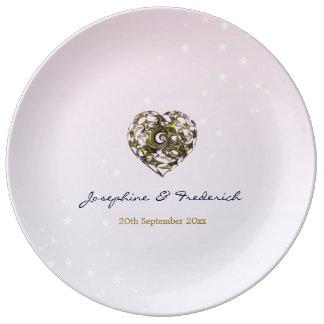 Rosa Hochzeits-Herzen Porzellanteller
