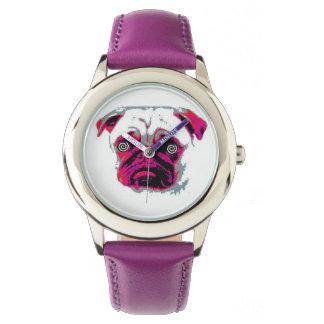 Rosa Hundekundenspezifischer rostfreier Stahl lila Armbanduhr