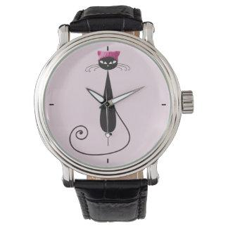 Rosa Hut-Miezekatze-Katze Uhr