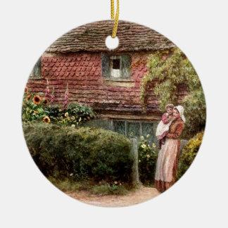 Rosa Hütten-Mutter und Kind Rundes Keramik Ornament