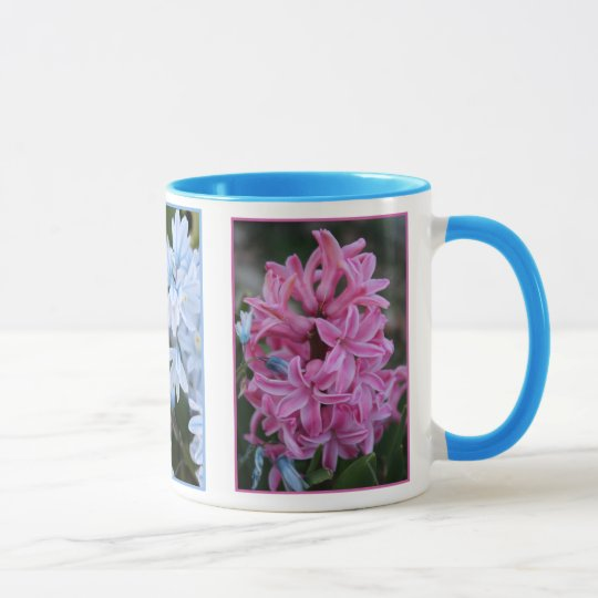 Rosa Hyazinthe und lt Blue Flowers Tasse