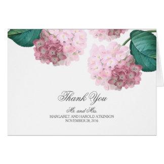 Rosa Hydrangea-Vintage Blumenhochzeit danken Ihnen Karte