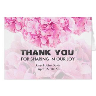 Rosa Hydrangeahochzeit danken Ihnen hydrangea1 Karte