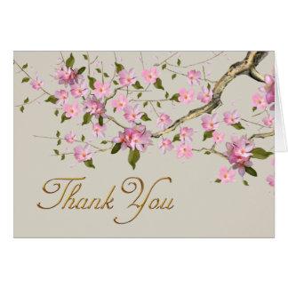 Rosa japanische Kirschblüten danken Ihnen Karten