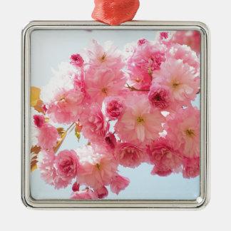 Rosa japanische Kirschblüten-Fotografie Silbernes Ornament