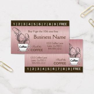 Rosa Kaffee-Lochkarten auf beiden Seiten Visitenkarte