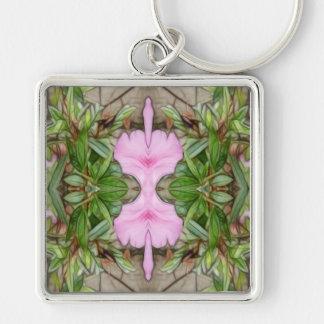 Rosa Kaleidoskop 2 der Azaleen 1E Silberfarbener Quadratischer Schlüsselanhänger