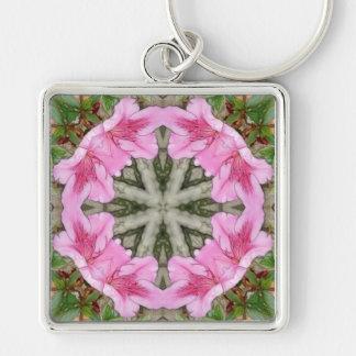 Rosa Kaleidoskop 8 der Azaleen 1E Silberfarbener Quadratischer Schlüsselanhänger