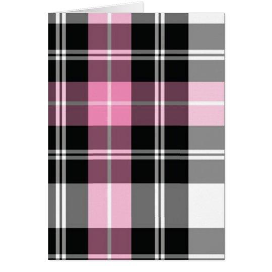 rosa kariertes grußkarte