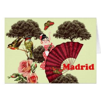 Rosa Karte Madrid, Vögelchen und eine Palette,