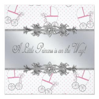 Rosa Kinderwagen-Baby-Prinzessin Shower Quadratische 13,3 Cm Einladungskarte