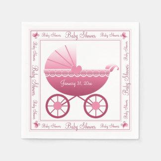 Rosa Kinderwagen Servietten