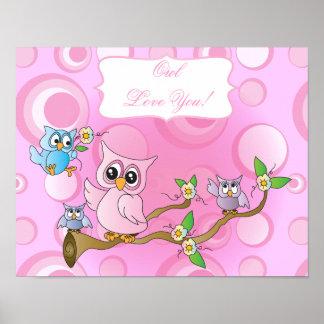Rosa Kinderzimmer-Thema der Baby-Eulen-| Poster