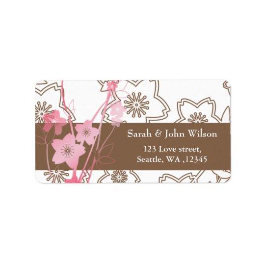 Rosa Kirschblüte-Hochzeit Adressaufkleber