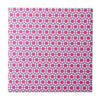 Rosa Kitsch-Blumenmuster Kleine Quadratische Fliese