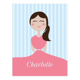 Rosa Kleiderniedliche Mädchen-Gewohnheit Postkarte