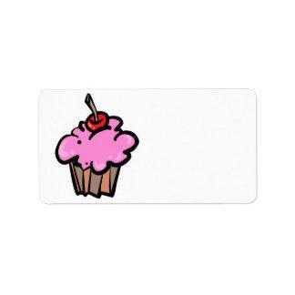 Rosa kleiner Kuchen mit Kirsche Adressaufkleber