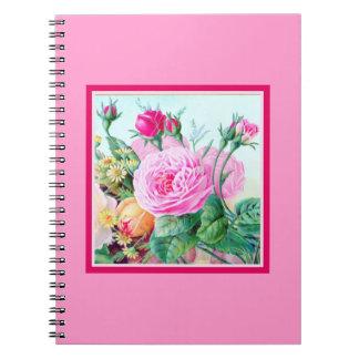 Rosa Kohl-Rosen u. Blumen-Blumenstrauß-Foto-Album Notiz Buch