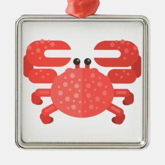 Rosa Krabben-Primitiv-Art Silbernes Ornament