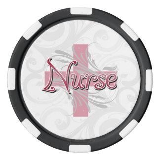 Rosa Kreuz-/Strudel-Krankenschwester Poker Chip Set