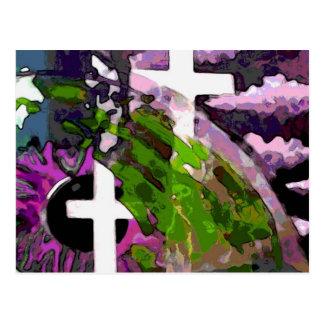 Rosa Kreuz und Auge Postkarte