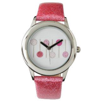 Rosa Kuchen-Pop-Pop Cakepops Armbanduhr
