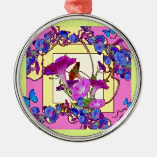 Rosa Kunst Blau-Winden Rundes Silberfarbenes Ornament