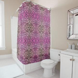 Rosa Leopard-Katzen-Öl-Farben-Effekt Duschvorhang