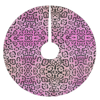 Rosa Leopard-Katzen-Öl-Farben-Effekt Polyester Weihnachtsbaumdecke