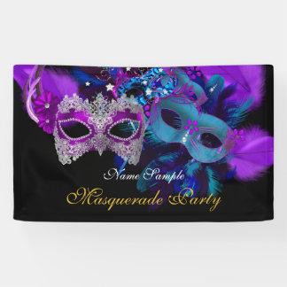 Rosa lila blaues Masken-Maskerade-Party Banner