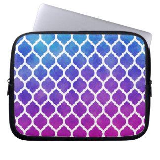 Rosa lila blaues Ombre Marokkaner-Gitter Laptop Computer Schutzhülle