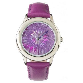 Rosa lila Blumen-Leidenschafts-abstrakte Uhr
