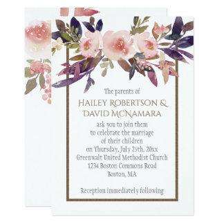 Rosa lila Brown-Pfirsich-Grün-Einladungen Karte