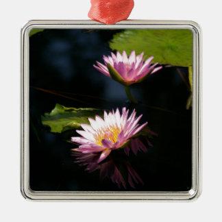 Rosa lila Lotos-Wasserlilien Silbernes Ornament