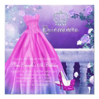 Rosa lila Prinzessin Quinceanera Quadratische 13,3 Cm Einladungskarte