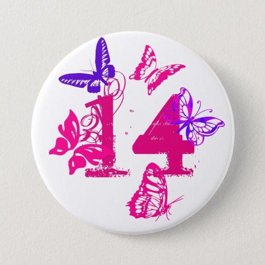 "Rosa, lila Schmetterlinge, zacken ""14"" Knopf, neun Runder Button 7,6 Cm"